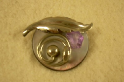 Antique Button Artisan Brooch with Amethyst