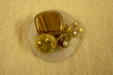 Antique Button Brooch with Tiger Eye