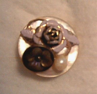 Artisan Button Brooch with Rose