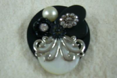 Large Vintage Button Brooch