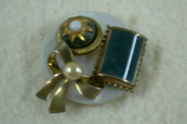 Antique Button Artisan Brooch