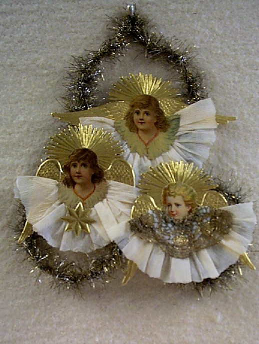 Darling Little Antique Die-Cut Angels Ornament