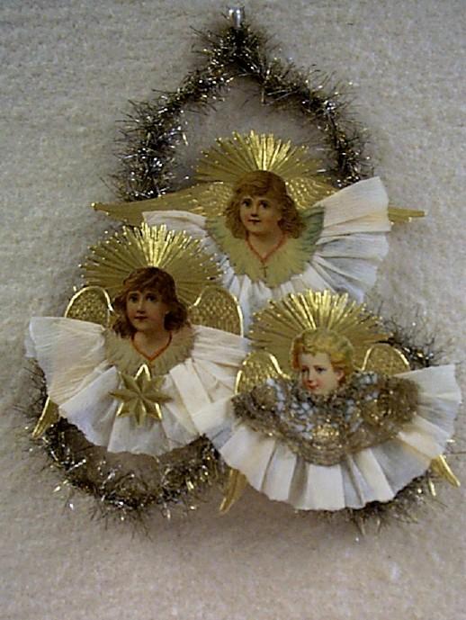 Darling Little Antique Die-Cut Angels Ornament