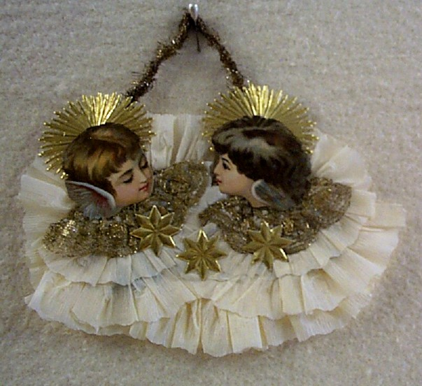 Cute Antique Die-Cut Angels Ornament