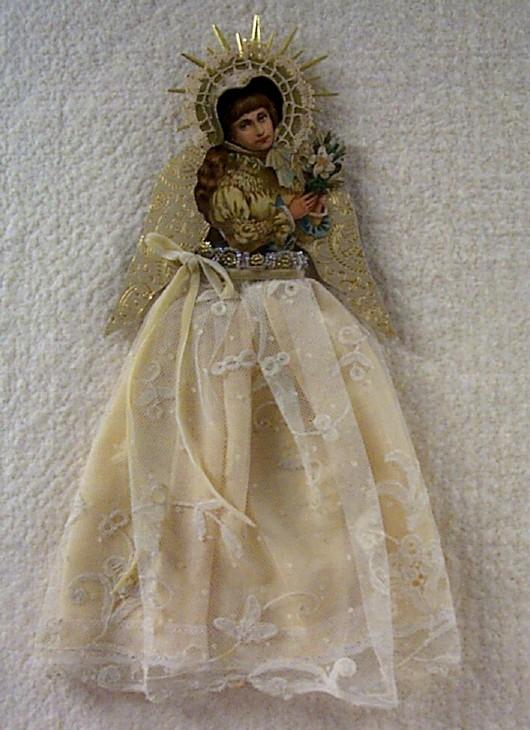 Antique Postcard Cut-Out Angel Ornament
