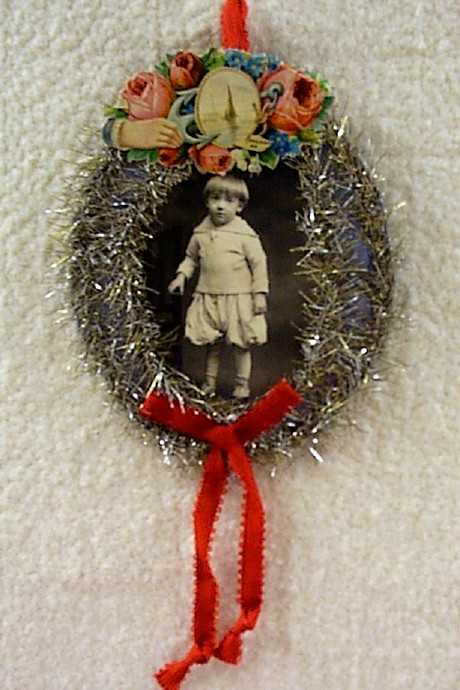 Antique Photo of Little Boy Xmas Ornament