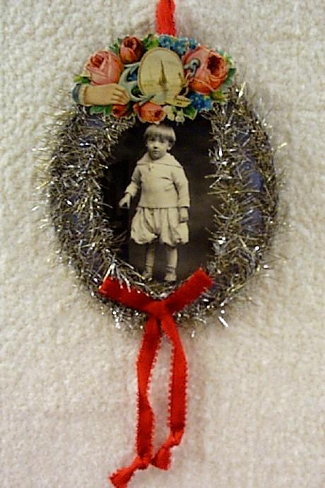 Antique Photo of Little Boy Xmas Ornament