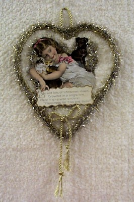 Girl with Cats and Dog Ornament