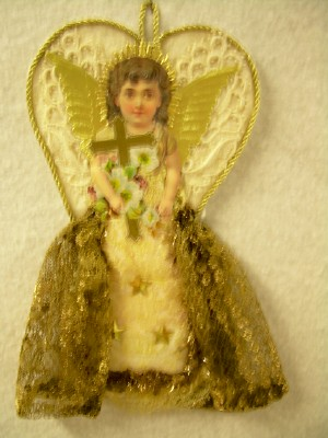 Angel Cut-Out with Dresden Wings Ornament