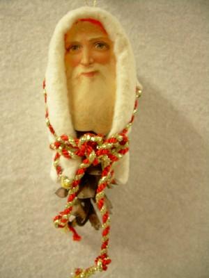 Pine Cone Ornament with Santa Face