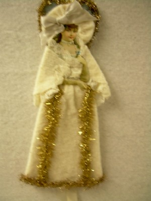 Full Figure Cotton Batting Ornament With Antique Die-Cut