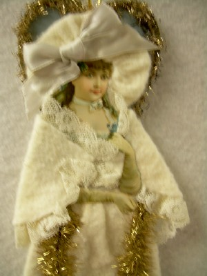 Full Figure Cotton Batting Ornament With Antique Die-Cut