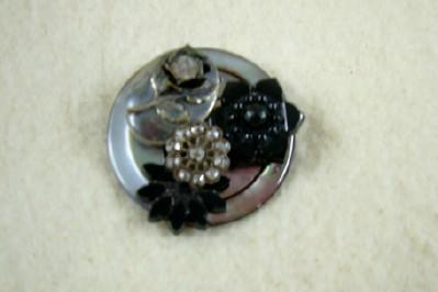 Grey & Black Button Brooch