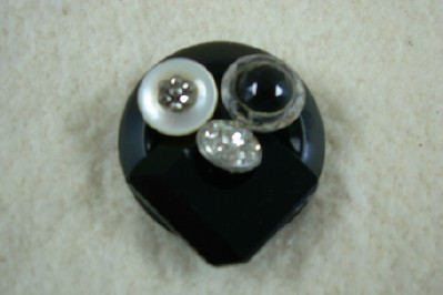 Black Plastic Button Brooch