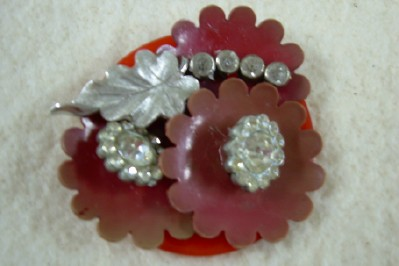 Large Red Button Brooch
