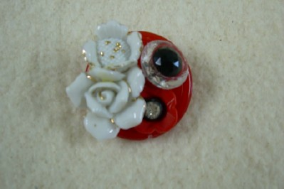 Red Plastic Button Brooch