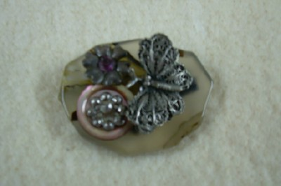 Stone & Butterfly Brooch