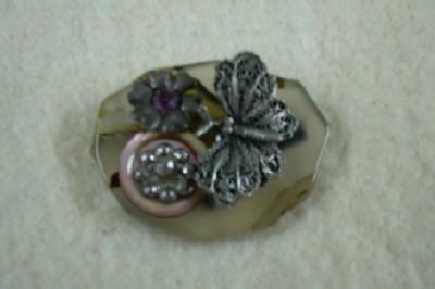Stone & Butterfly Brooch